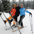 Happy friends on ski resort — Stockfoto