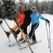 Happy friends on ski resort — Stok fotoğraf