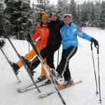 Happy friends on ski resort — Stock Photo