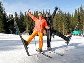 Couple on Snow Skis — Stock Photo