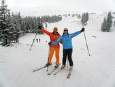 Females snow skiing — Stock Photo