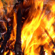 Ablaze wall of fire - Stock Photo