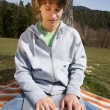 Teenager outside with laptop — Stock Photo #1274212