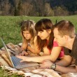 Three students studying outdoors - Stock Photo