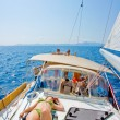 Stock Photo: Sunbathing on a sailboat