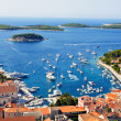 Nice view of port on Hvar island - Stock Photo