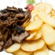 Liver and chips - Stock Photo