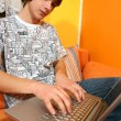 Boy using laptop - Foto de Stock