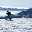 Winter trekking in the alps — Stock Photo