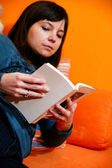 Cute girl reading a book — Foto Stock