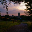 Sunset near Castle Laufenburg - Stock Photo
