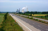 Autobahn and power plant — Foto Stock