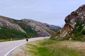 Bicycle travel in Northern Norway — 图库照片