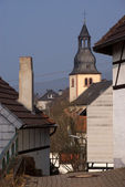 Belltower in old German town — Stock Photo