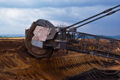 Giant wheel of bucket wheel excavator — Stock Photo