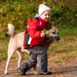 Little girl playing with her dog — Stock Photo #1447657