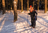 Little Boy Cross Country Skiing — 图库照片