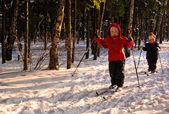 Children Cross Country Skiing — 图库照片