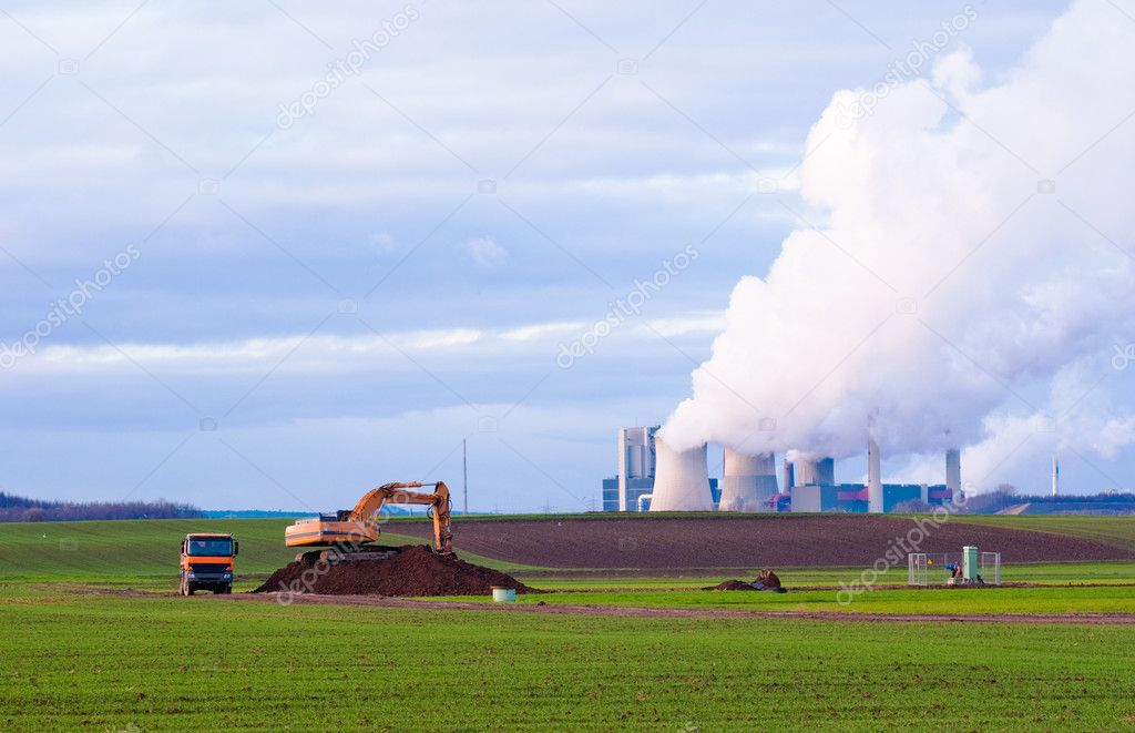 Excavator, truck and power plant  Stock Photo #1824322