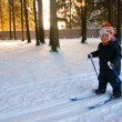 Little Boy Cross Country Skiing — Stock Photo