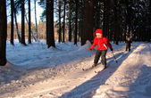 Children Cross Country Skiing — Stock Photo