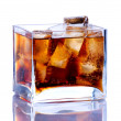 Square vase with ice and cola — Stock Photo