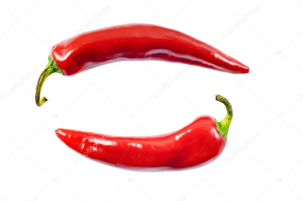 Red hot chili peppers on white with clipping path  Stock Photo #1052254