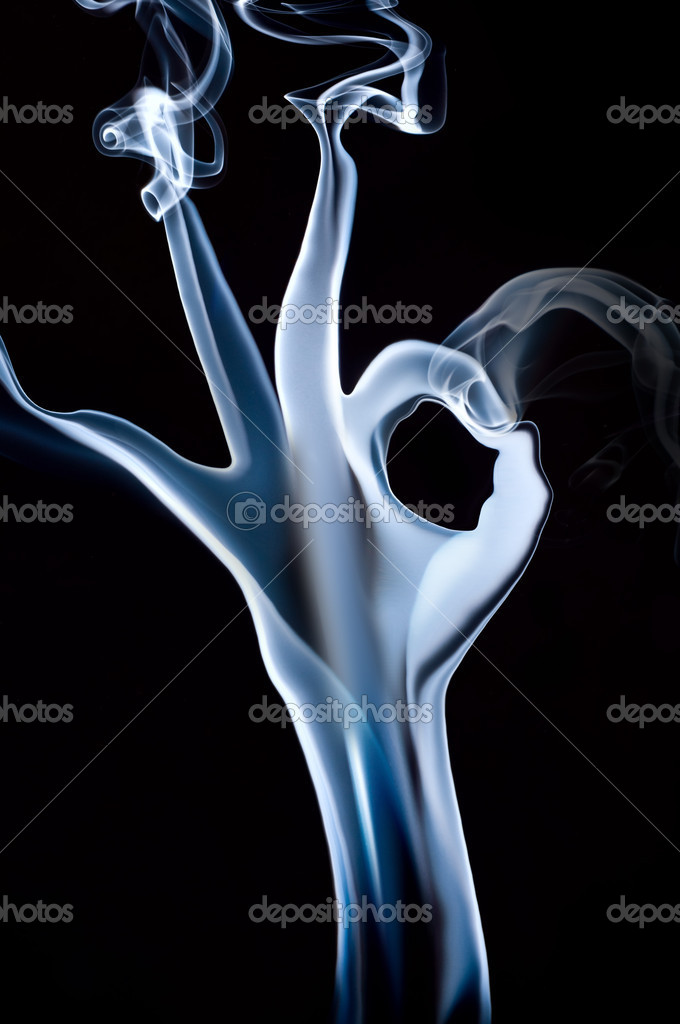 Smoke hand with OK sign on black — Stock Photo #1052280