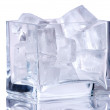 Square vase with ice — Stock Photo
