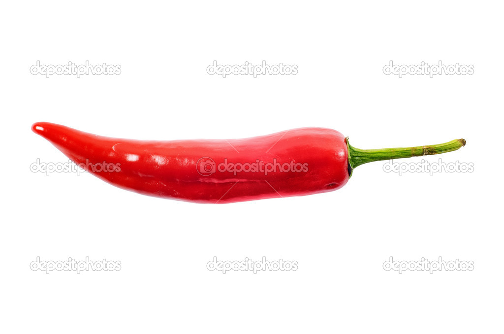 Red hot chili pepper on white with clipping path — Stock Photo #1068136