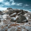 Stone tomb infrared landscape — Stock Photo