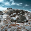 Stock Photo: Stone tomb infrared landscape