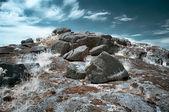 Stone tomb infrared landscape — Stock Photo