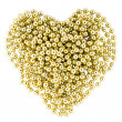 Heart shape from golden garland - Stock Photo