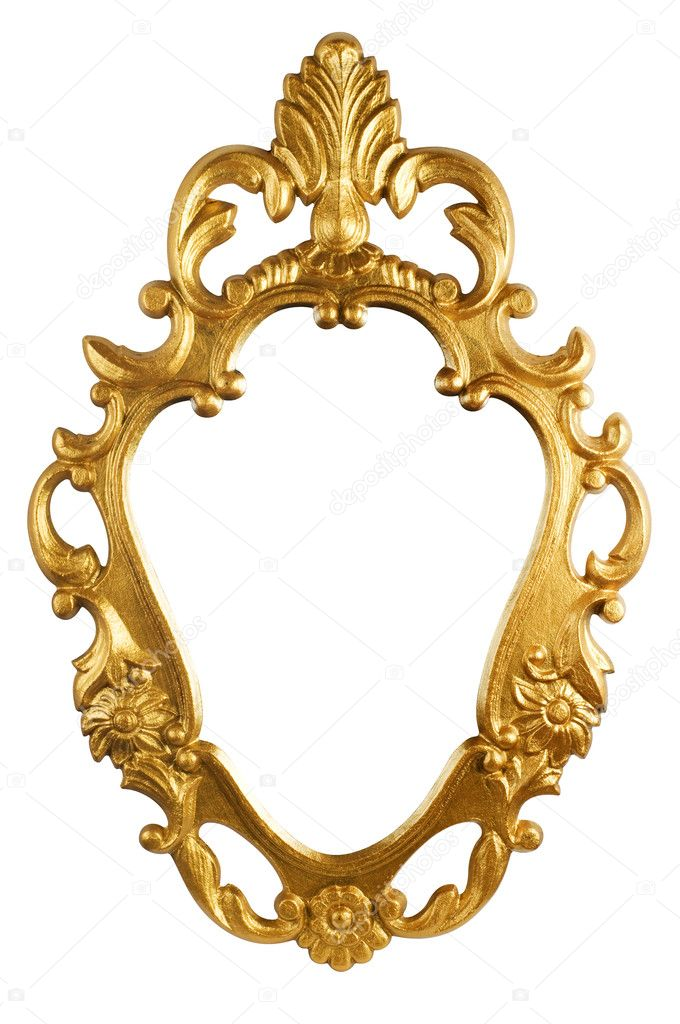 Gold vintage metal frame isolated on white (with clipping path) — Стоковая фотография #1094817