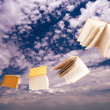 Flock of books flying on blue sky - Stock Photo