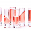 Thin glasses with pink liquid — Stock Photo