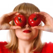 Lady in red with two tomato — Stock Photo