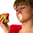 Royalty-Free Stock Photo: Woman with angry apple