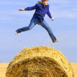 Jumping on straw roll — Stock Photo #1151961