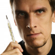Stock Photo: Man with thermometer
