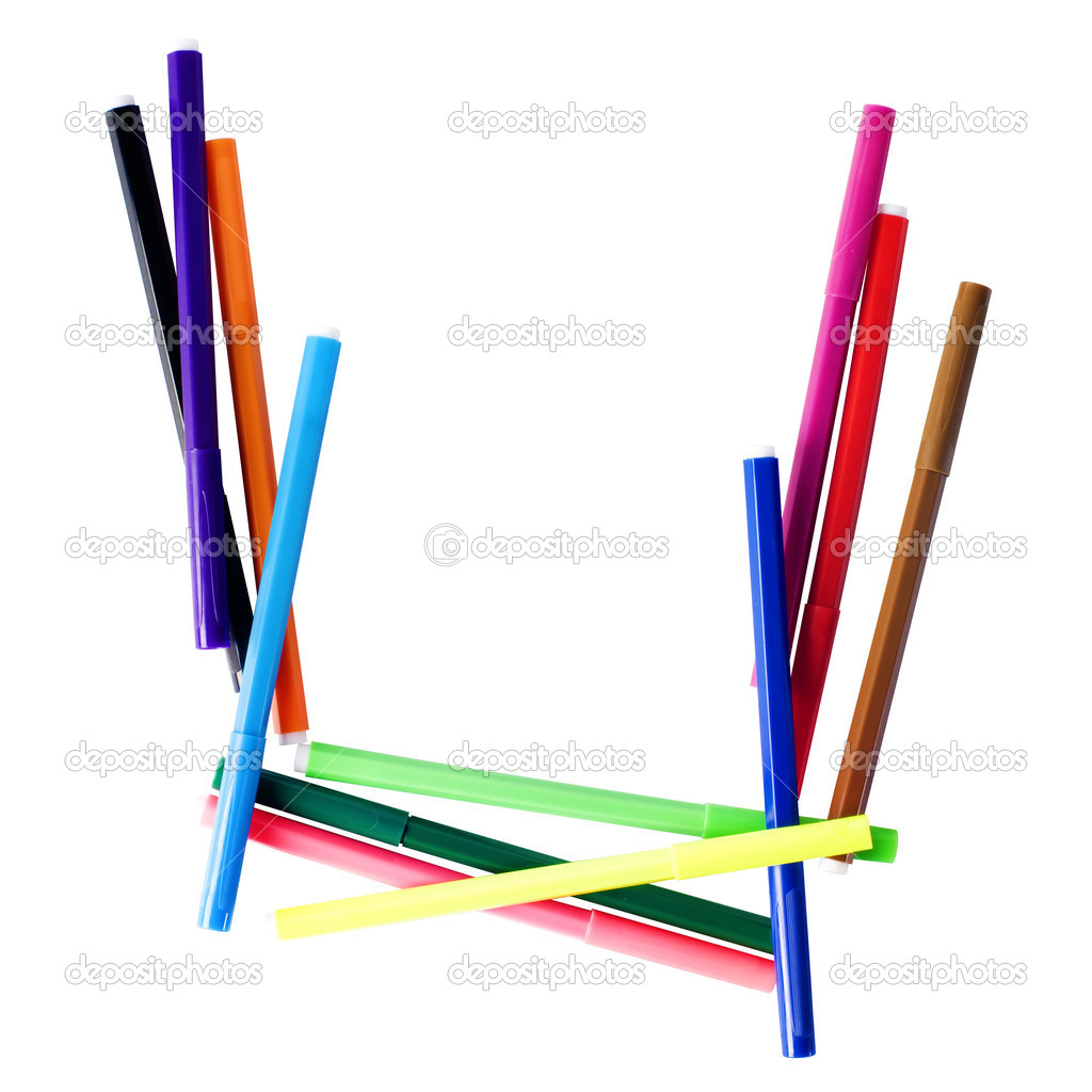 Latin letter U from the set of colored felt-tip pen with clipping path — Stock Photo #1151795