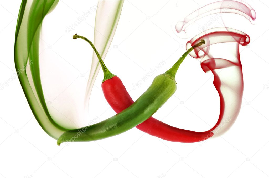 Red and green hot chili pepper with color smoke on white — Stock Photo #1151943