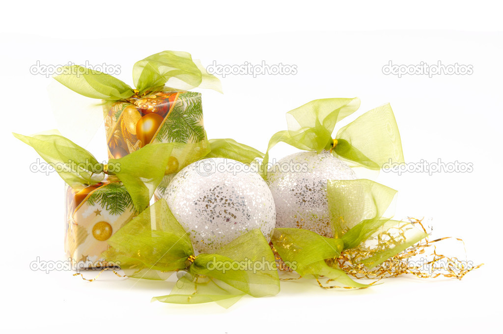 Christmas decoration, balls, boxes, with green ribbon  Stock Photo #1151959