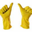 Ok sign yellow rubber gloves — Stock Photo