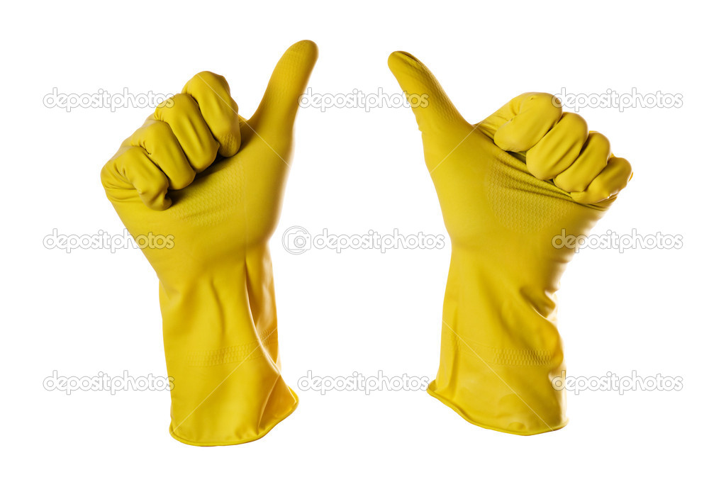 Ok sign yellow rubber gloves on white with clipping path  Stock Photo #2052144
