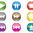 Nine buttons for player — Stock Vector