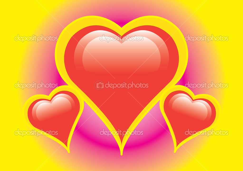 Three hearts on colorful background — Stock Vector #1603540