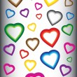 Background with colorful hearts — Imagen vectorial