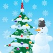 Royalty-Free Stock Vector Image: Snowman and Christmas spruce